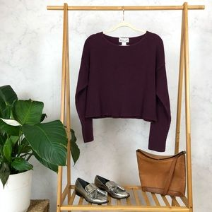 Vintage 90s Purple Ribbed Oversized Crop Sweater